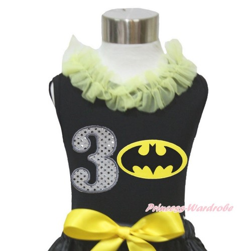 Black Tank Top Yellow Chiffon Lacing & 3rd Sparkle White Birthday Number Batman Print TB845