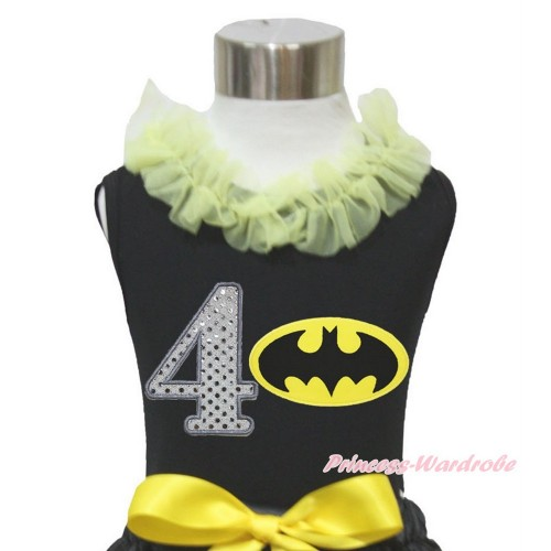 Black Tank Top Yellow Chiffon Lacing & 4th Sparkle White Birthday Number Batman Print TB846