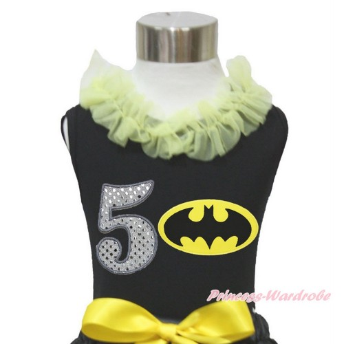 Black Tank Top Yellow Chiffon Lacing & 5th Sparkle White Birthday Number Batman Print TB847