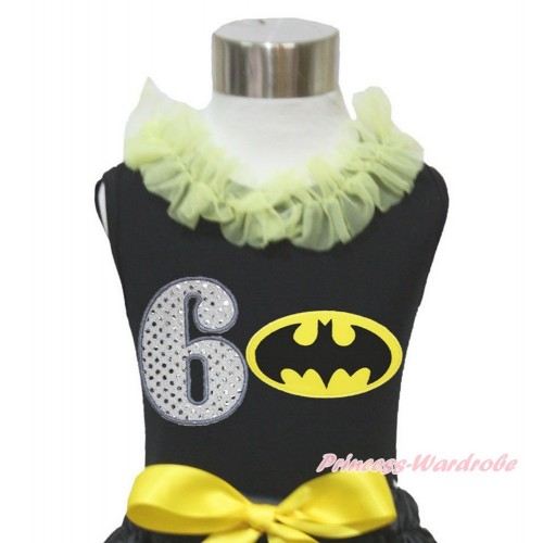 Black Tank Top Yellow Chiffon Lacing & 6th Sparkle White Birthday Number Batman Print TB848