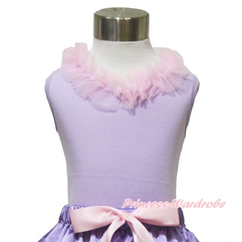 Lavender Tank Top Light Pink Chiffon Lacing TN242