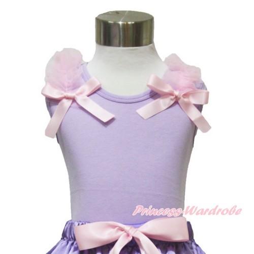 Lavender Tank Top Light Pink Ruffles & Bow TN243