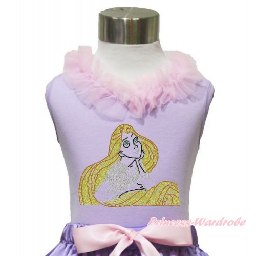 Lavender Tank Top Light Pink Chiffon Lacing & Sparkle Bling Rhinestone Princess Tangled TN245