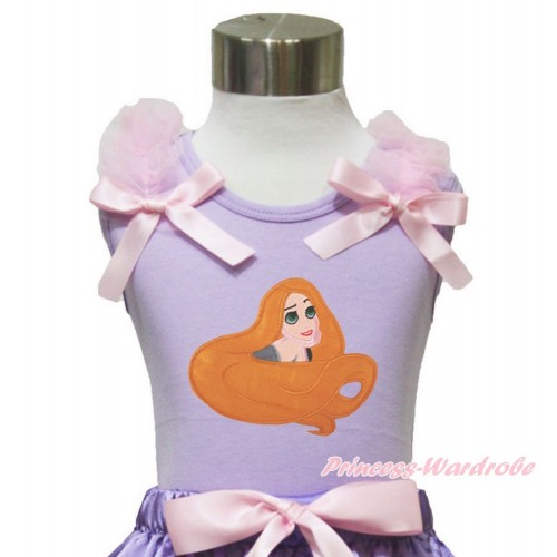 Lavender Tank Top Light Pink Ruffles & Bow & Princess Tangled TN246