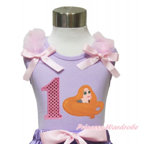 Lavender Tank Top Light Pink Ruffles & Bow & 1st Sparkle Light Pink Birthday Number Princess Tangled TN248
