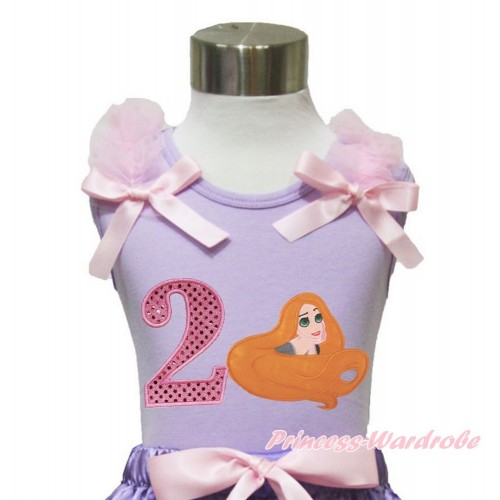 Lavender Tank Top Light Pink Ruffles & Bow & 2nd Sparkle Light Pink Birthday Number Princess Tangled TN249