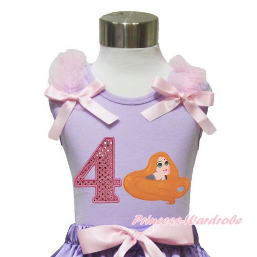 Lavender Tank Top Light Pink Ruffles & Bow & 4th Sparkle Light Pink Birthday Number Princess Tangled TN251
