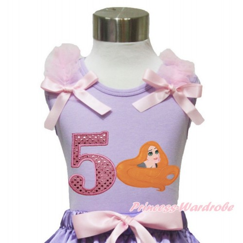 Lavender Tank Top Light Pink Ruffles & Bow & 5th Sparkle Light Pink Birthday Number Princess Tangled TN252