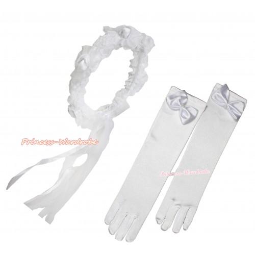 Elegant Pure White Girl Wedding Bridal Bead Corsage Headband Veil Mask Costume With White Satin Princess Gloves 2pc Set C210