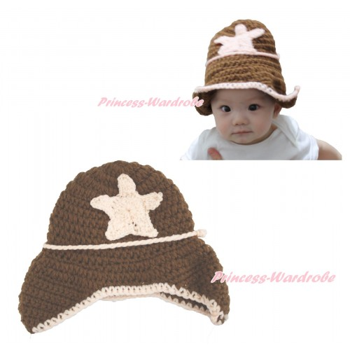Brown Sea Star Cowboy Cowgirl Hat Photo Prop Crochet Newborn Baby Custome C297