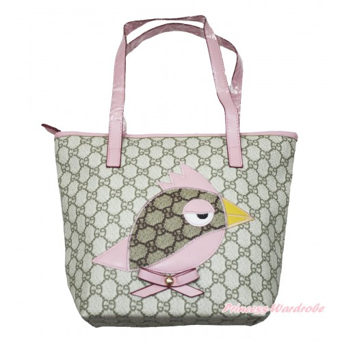 Light Pink Leather Little Bird Sparrow Cute Handbag Pink Bow Petti Bag Purse CB171
