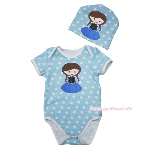 Frozen Light Blue White Polka Dots Baby Jumpsuit with Princess Anna Print with Cap Set JP58