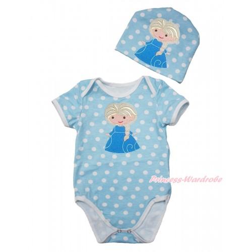 Frozen Light Blue White Polka Dots Baby Jumpsuit with Princess Elsa Print with Cap Set JP59