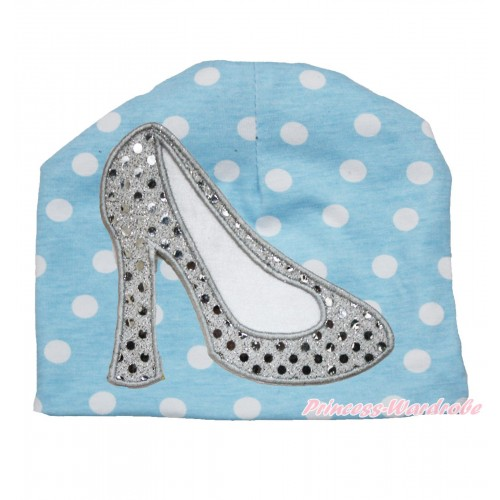 Light Blue White Polka Dots Cotton Cap with Sparkle White High Heel Shoes Print TH521