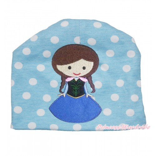 Light Blue White Polka Dots Cotton Cap with Frozen Princess Anna Print TH522