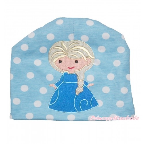 Light Blue White Polka Dots Cotton Cap with Frozen Princess Elsa Print TH523