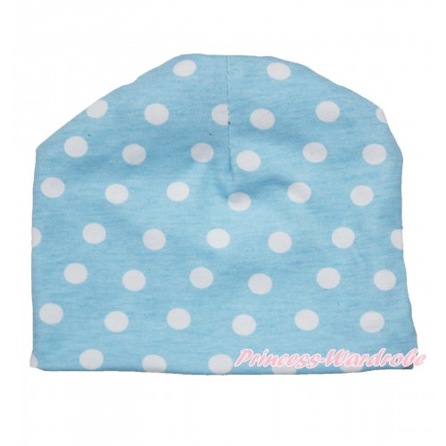 Light Blue White Polka Dots Cotton Cap TH520