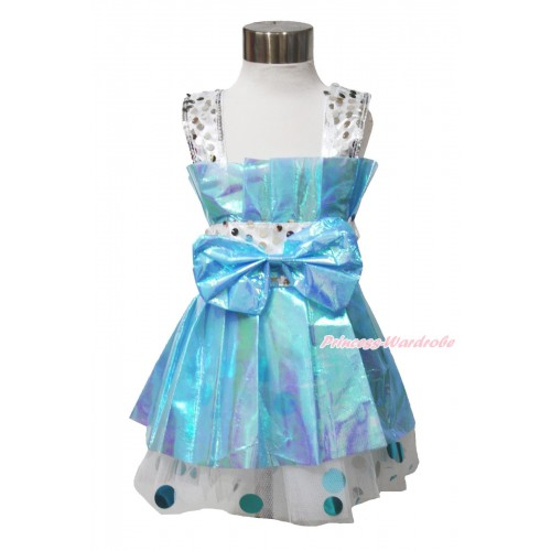 Cute Bling Sparkle Light Blue Strap Tube Dress One Piece Party Dance Girl Kids Gown LP116