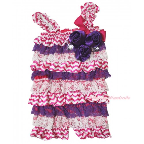 Halloween Hot Pink White Chevron Purple Lace Romper & Hot Pink Bow & Straps & Bunch Purple Satin Rosettes& Crystal LR194