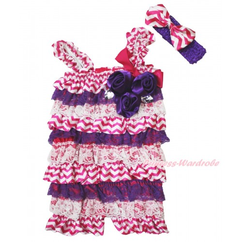 Halloween Hot Pink White Chevron Purple Lace Romper & Hot Pink Bow & Straps & Bunch Purple Satin Rosettes& Crystal With Purple Headband Hot Pink Chevron Satin Bow 2pc Set RH155