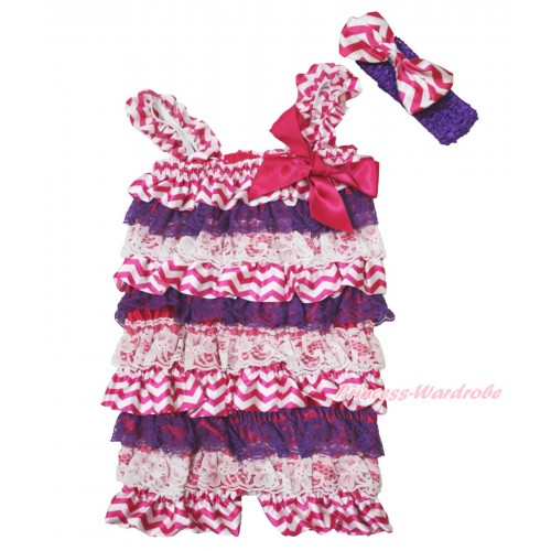 Halloween Hot Pink White Chevron Purple Lace Petti Romper & Hot Pink Bow & Straps & Purple Headband Hot Pink Chevron Satin Bow 2pc Set RH153