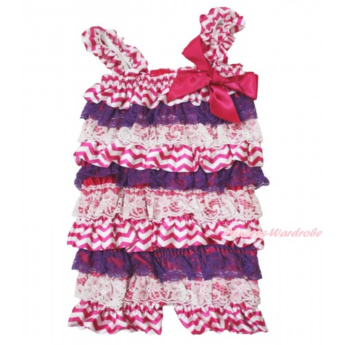 Halloween Hot Pink White Chevron Purple Lace Petti Romper & Hot Pink Bow & Straps LR192
