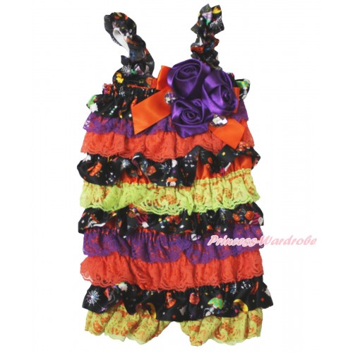 Halloween Pumpkin Purple Orange Petti Romper & Orange Bow & Straps & Bunch Purple Satin Rosettes& Crystal LR196