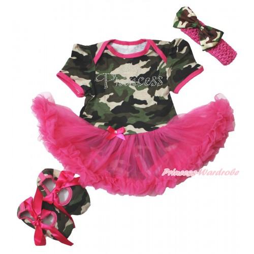 Camouflage Bodysuit Jumpsuit Hot Pink Pettiskirt & Sparkle Rhinestone Princess Print & Hot Pink Headband Camouflage Satin Bow & Hot Pink Ribbon Camouflage Shoes JS3816