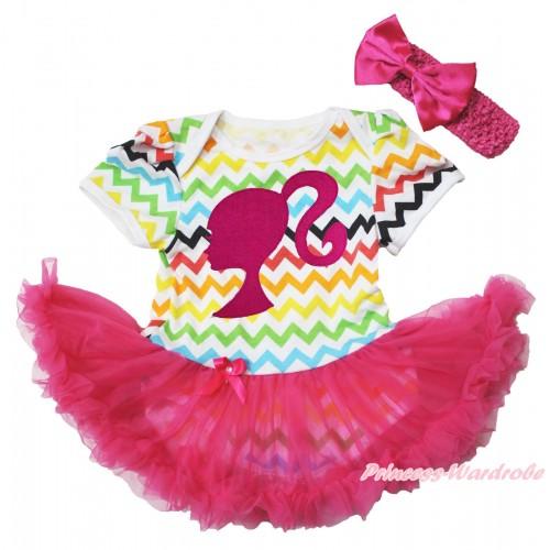 Easter Rainbow Chevron Wave Bodysuit Jumpsuit Hot Pink Pettiskirt & Hot Pink Barbie Princess Print & Hot Pink Headband Hot Pink Satin Bow JS3799