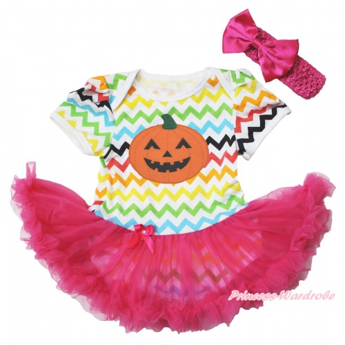 Easter Rainbow Chevron Wave Bodysuit Jumpsuit Hot Pink Pettiskirt & Halloween Pumpkin Print & Hot Pink Headband Hot Pink Satin Bow JS3800