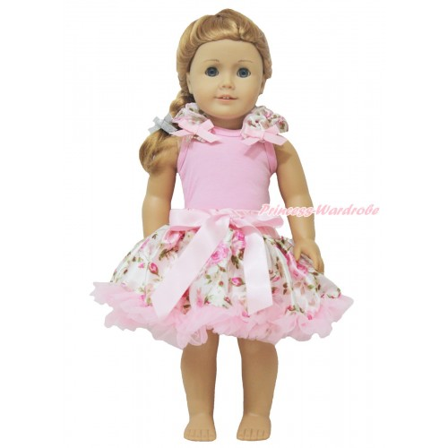 Light Pink Tank Top Rose Fusion Ruffles Light Pink Bow & Light Pink Rose Pettiskirt American Girl Doll Outfit DO024