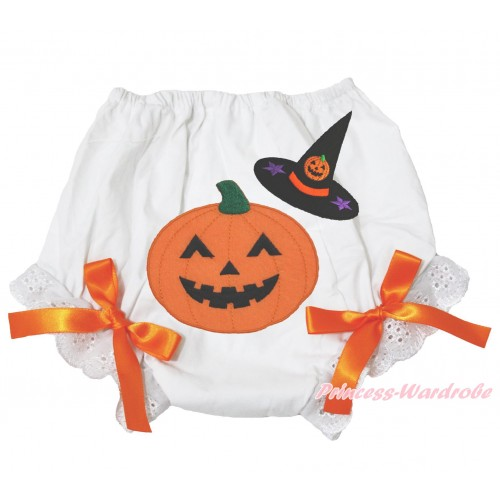 Halloween White Bloomer & Witch Hat Pumpkin Print & Orange Bow BL121