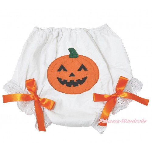 Halloween White Bloomer & Pumpkin Print & Orange Bow BL122
