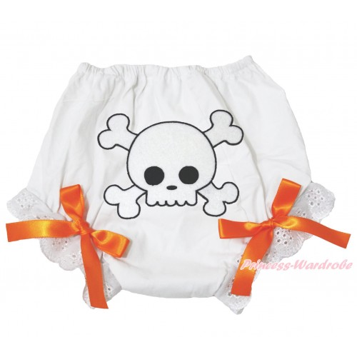 Halloween White Bloomer & White Skeleton Print & Orange Bow BL124