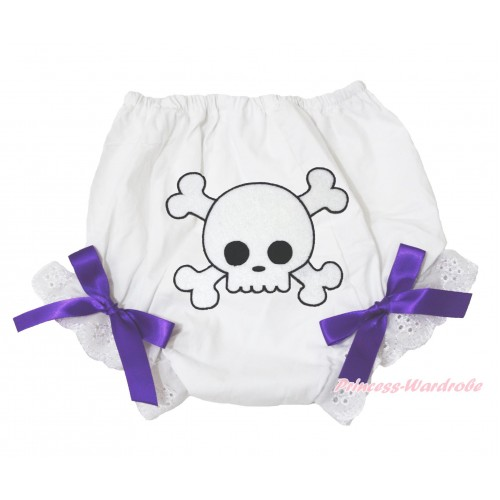 Halloween White Bloomer & White Skeleton Print & Dark Purple Bow BL126