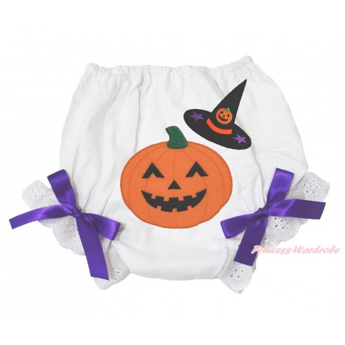 Halloween White Bloomer & Witch Hat Pumpkin Print & Dark Purple Bow BL127