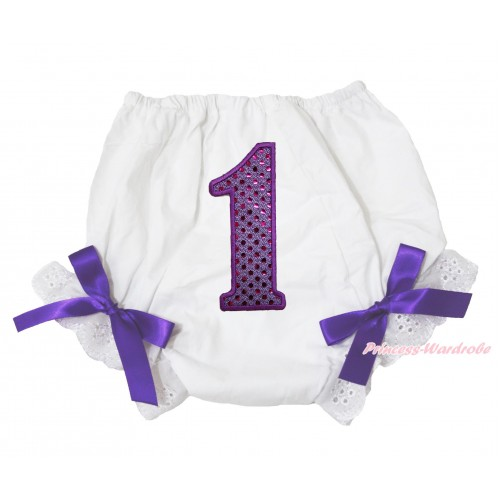White Bloomer & 1st Sparkle Dark Purple Birthday Number Print & Dark Purple Bow BL129