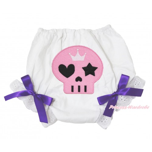 Halloween White Bloomer & Light Pink Skeleton Print & Dark Purple Bow BL130