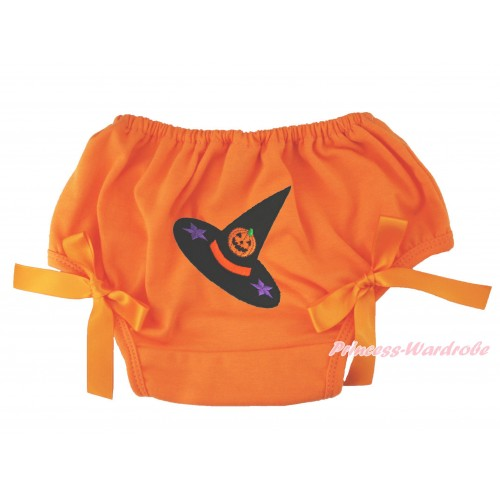 Halloween Orange Bloomer & Pumpkin Witch Hat Print & Orange Bow BL132