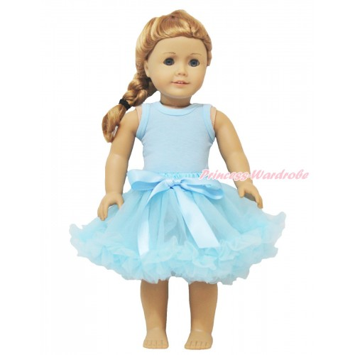 Light Blue Tank Top & Light Blue Pettiskirt American Girl Doll Outfit DO014