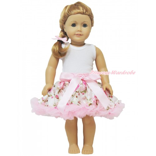 White Tank Top & Light Pink Rose Fusion Pettiskirt American Girl Doll Outfit DO016