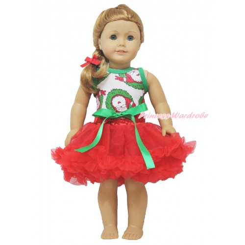 Xmas Santa Claus Tank Top & Kelly Green Bow Red Pettiskirt American Girl Doll Outfit DO017
