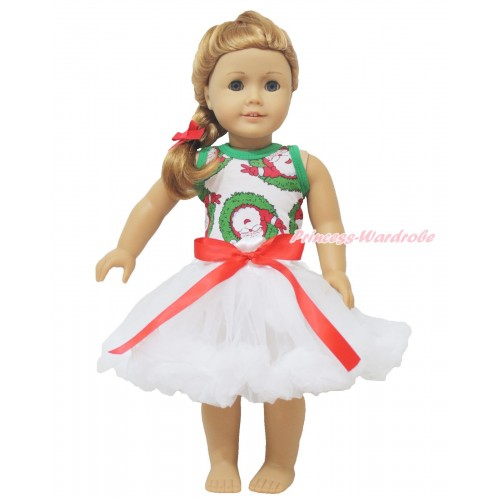 Xmas Santa Claus Tank Top & Red Bow White Pettiskirt American Girl Doll Outfit DO018