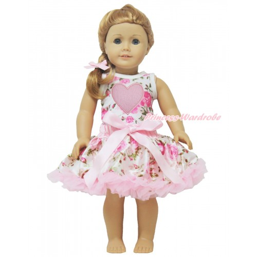 Rose Fusion Tank Top Light Pink Heart & Light Pink Rose Pettiskirt American Girl Doll Outfit DO027
