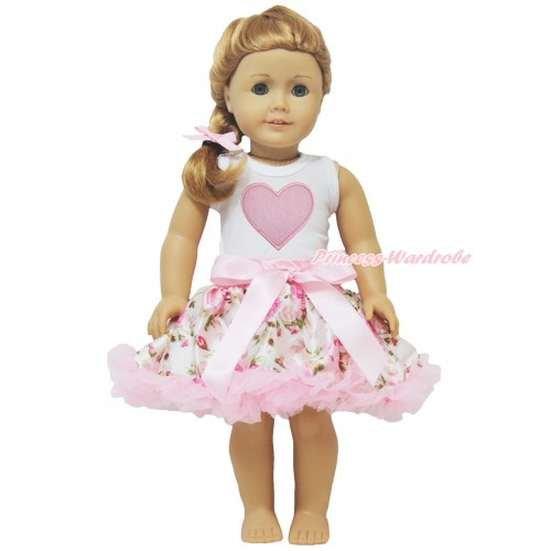 White Tank Top Light Pink Heart & Light Pink Rose Pettiskirt American Girl Doll Outfit DO029