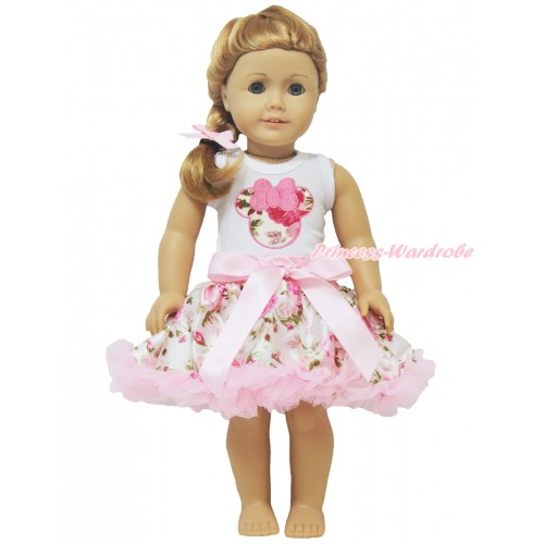 White Tank Top Light Pink Rose Minnie & Light Pink Rose Pettiskirt American Girl Doll Outfit DO030
