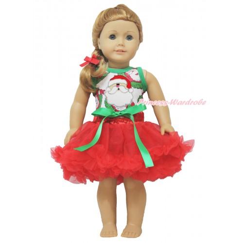 Xmas Santa Claus Tank Top Santa Claus Print & Kelly Green Bow Red Pettiskirt American Girl Doll Outfit DO031