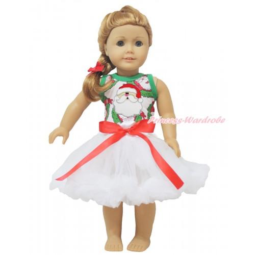 Xmas Santa Claus Tank Top Santa Claus Print & Red Bow White Pettiskirt American Girl Doll Outfit DO032