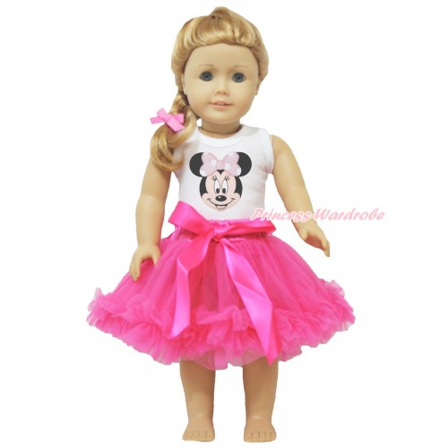 White Tank Top Light Pink Minnie & Hot Pink Pettiskirt American Girl Doll Outfit DO034