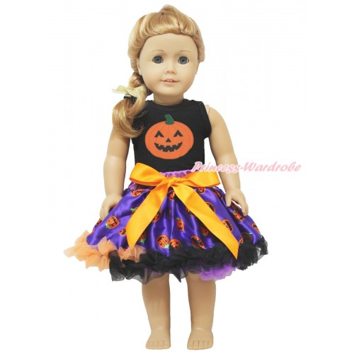 Black Tank Top Pumpkin & Purple Pumpkin Pettiskirt American Girl Doll Outfit DO035